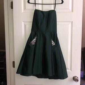 Dark Green strapless homecoming dress